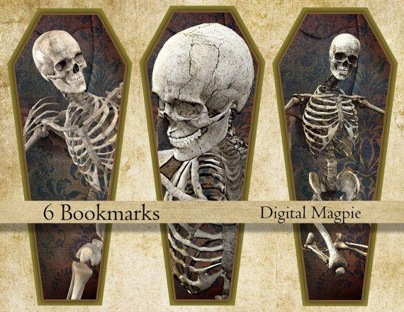 Halloween marque-page téléchargement immédiat imprimable signets squelette cercueil numérique truc feuille de collage ou traiter livre cadeau amoureux