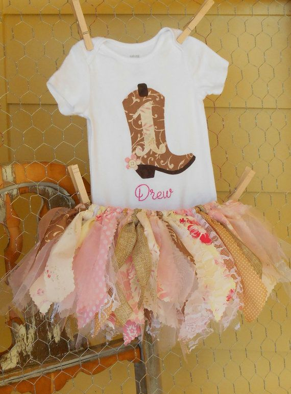 Vintage-inspired cowgirl first birthday outfit by Jealous June on Etsy