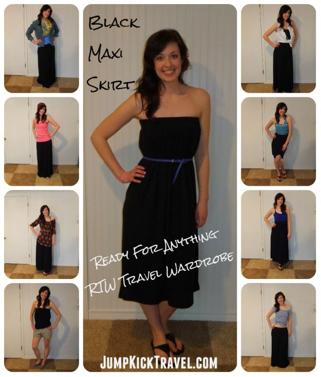 JumpKickTravel.com: Kate's Ready For Anything RTW Travel Wardrobe ~ Part 2~ Black Maxi Skirt. Click to see 13 different ways  to remix a skirt!