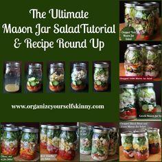 Mason Jar Salad Recipes. The Ultimate Mason Jar Salad Tutorial and Recipe Round Up. How to make Salad in a Jar. Mason Jar Salad Recipes