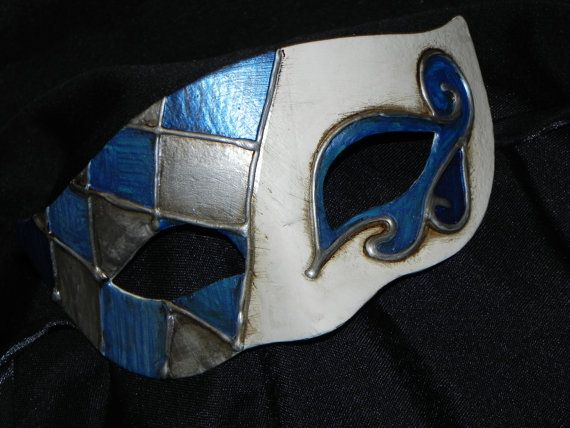 Half Harlequin Mask in Shades of Blue White by TheCraftyChemist07, $35.00