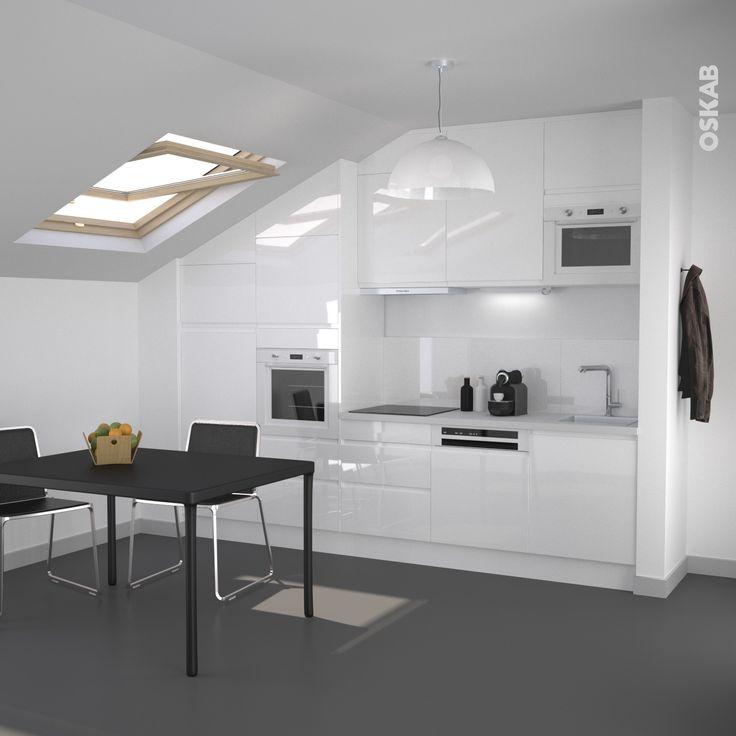 Cuisine blanche sans poign e ipoma blanc brillant plans de travail blancs meuble de cuisine Plan de travail pour cuisine blanche