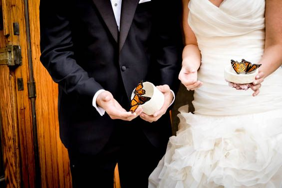 Unique wedding ideas: After the ceremony, guests of this wedding released live butterflies in the new couple's honor.