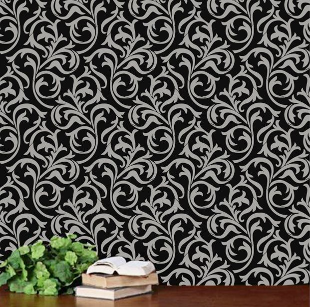 Gallery Of Oh So Romantic Heather Geo Scroll Swirls Modern Wall Allover  Designer Pattern Stencil With Garden Stencils For Walls