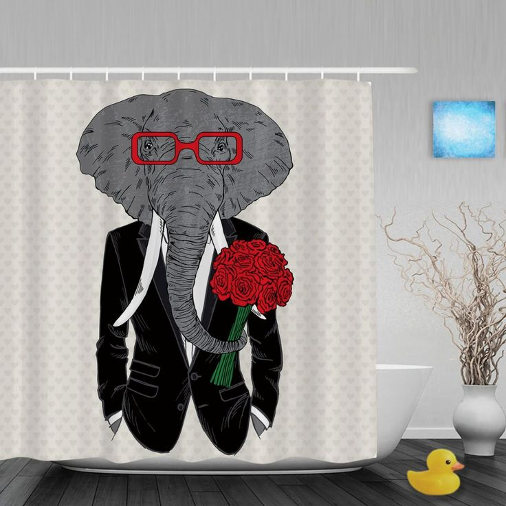 Mr.Elephant Groom Shower Cutains Cute Animals Wedding Bathroom Shower Curtains For Couple Polyester Waterproof Fabric With Hooks #Affiliate
