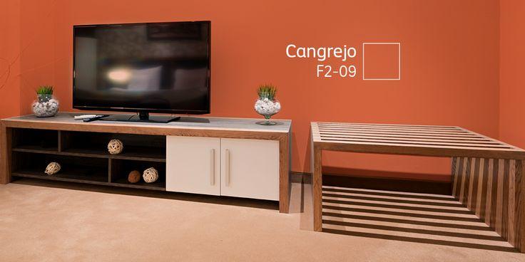 ¡Con el naranja convertirás tu sala de televisión en un espacio lleno de vida!