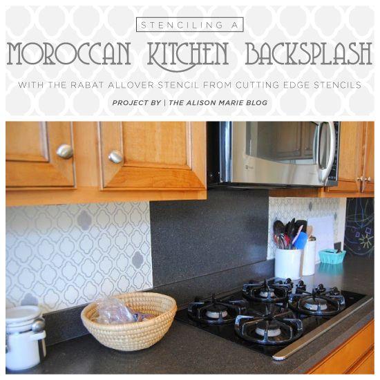 Cutting Edge Stencils Shares A Stenciled Diy Kitchen Backsplash Using Our Rabat Craft Pattern For A