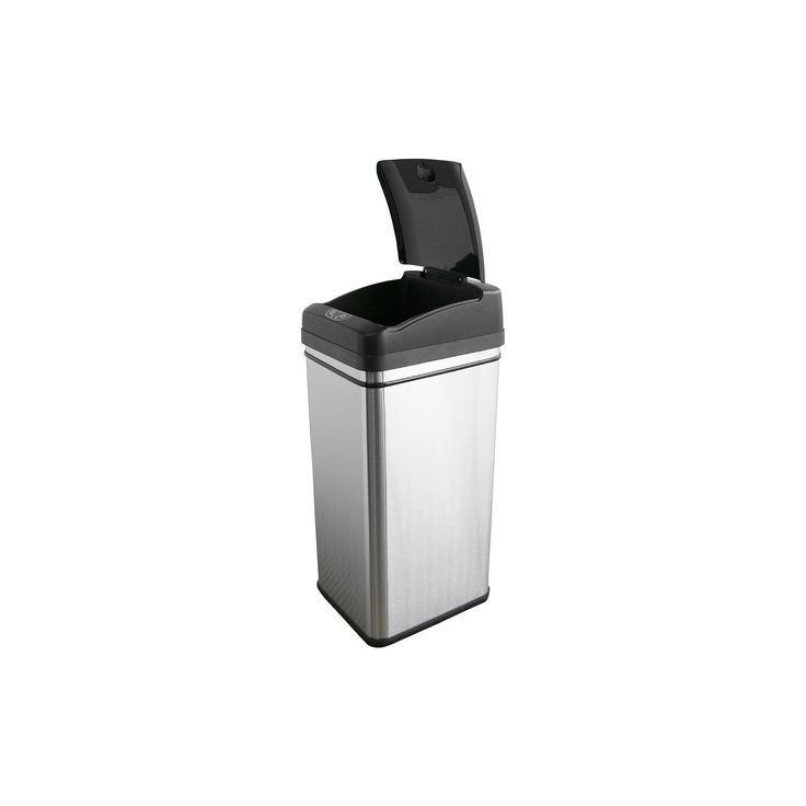 Touchless 13 Gallon Stainless Steel (Silver) Automatic Touchless Trash Can with Carbon Filter Deodorizer
