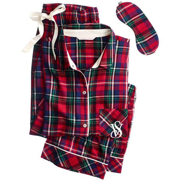 The Dreamer Flannel Pajama ($39) ❤ liked on Polyvore featuring intimates, sleepwear, pajamas, pijamas, victoria secret pajamas, flannel pjs, victoria's secret, victoria secret sleepwear and flannel pajamas