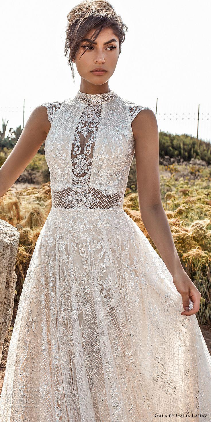 galia lahav gala 2017 bridal cap sleeves high jewel neck full embellishment beaded crystals romantic glamorous a  line wedding dress open low back chapel train (803) zv
