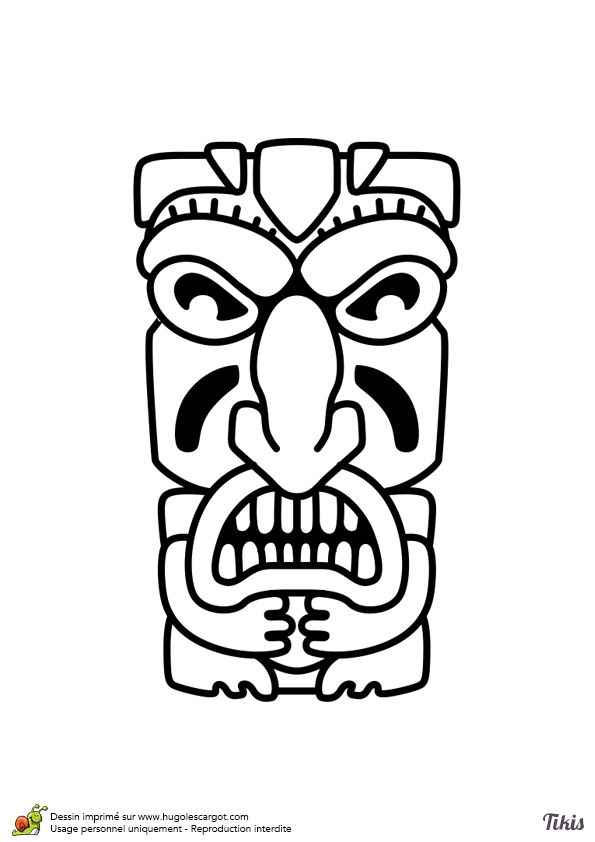 40 best images about coloriages totem tiki on pinterest tiki totem french and dance in - Coloriage hawaienne ...