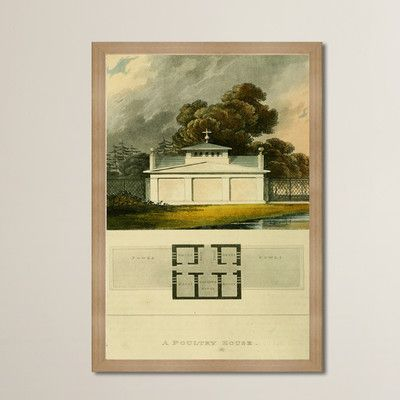 """Alcott Hill Poultry House Framed Painting Print Size: 36"""" H x 24"""" W"""