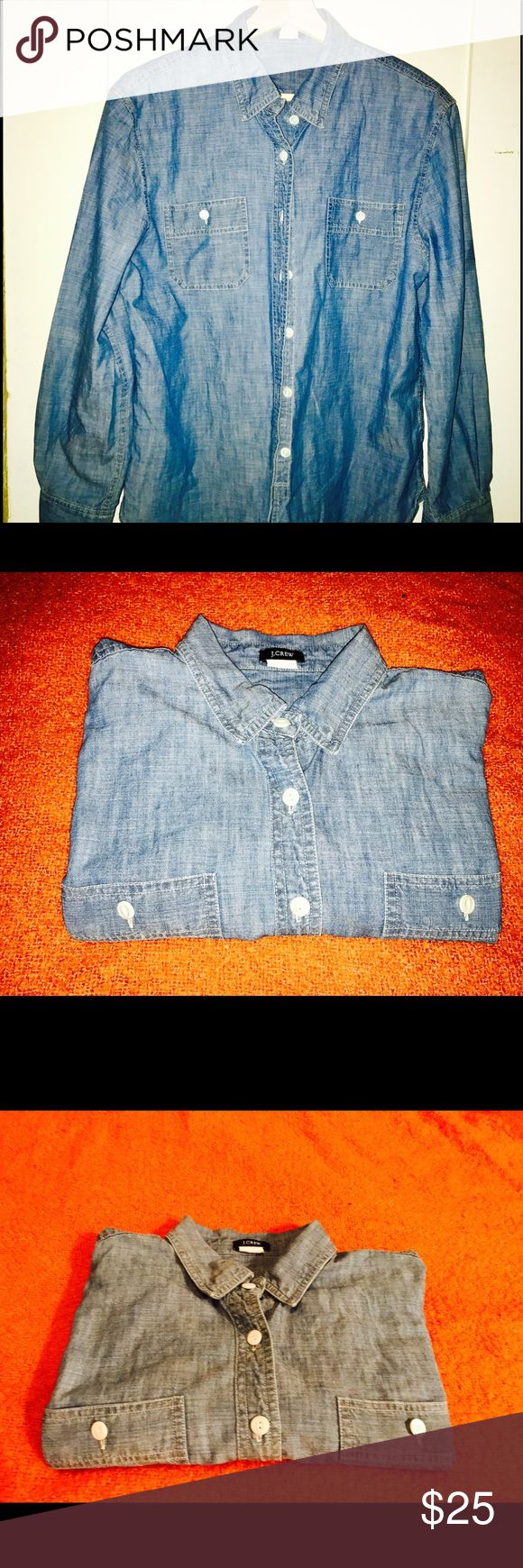 J.Crew Chambray Shirt J.Crew Chambray Shirt, great condition. Your staple Chambray shirt. Lightly used. J.Crew Factory Tops Button Down Shirts