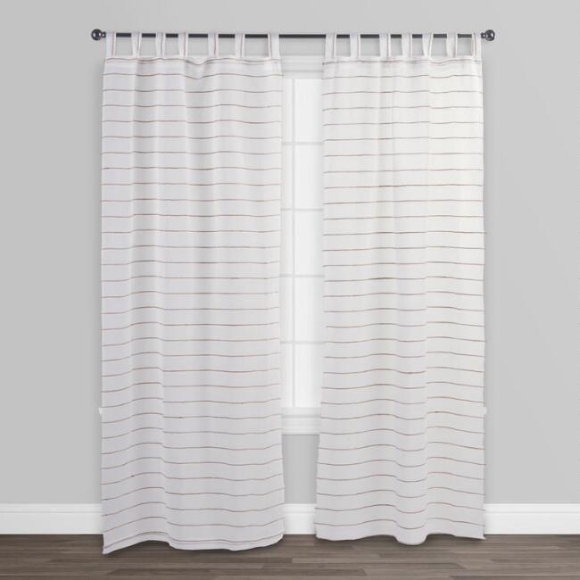 White Striped Jute Sahaj Tab Top Curtains Set of 2 - v2