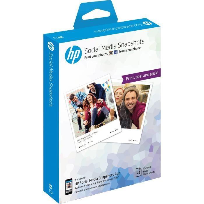 Hp Papier Photo Adhesif W2g60a Social Media Snapshots Amovible 25 Feuilles 10 X 13 Cm Papier Photo Papier Imprimable Et Ramette Papier