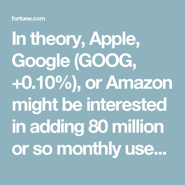 In theory, Apple, Google (GOOG, +0.10%), or Amazon might be interested in adding 80 million or so monthly users, on the assumption that they could convince at least some of them to upgrade to a paid account. Or they could just wait for Pandora to go under, and bank on the prospect of picking up some of its users eventually anyway, without having to pay anything at all.