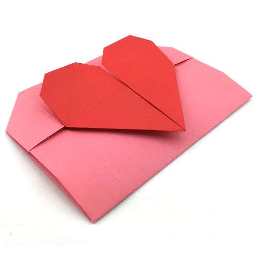 How to make an origami heart envelope for Valentine's Day; Folded with a single A4 paper
