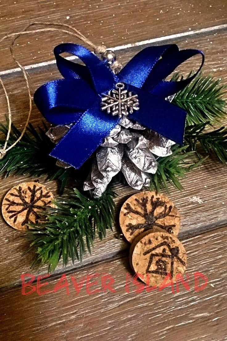 Купить Елочные украшения ручной работы - серебряный, елочные украшения, ручная работа, подарок на новый год