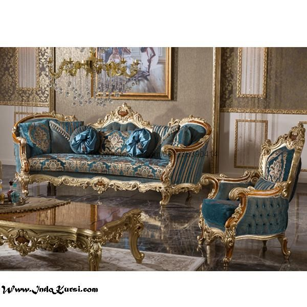 Set Bangku Sofa Tamu Keluarga Ukiran Mewah Ruang Keluarga Mewah