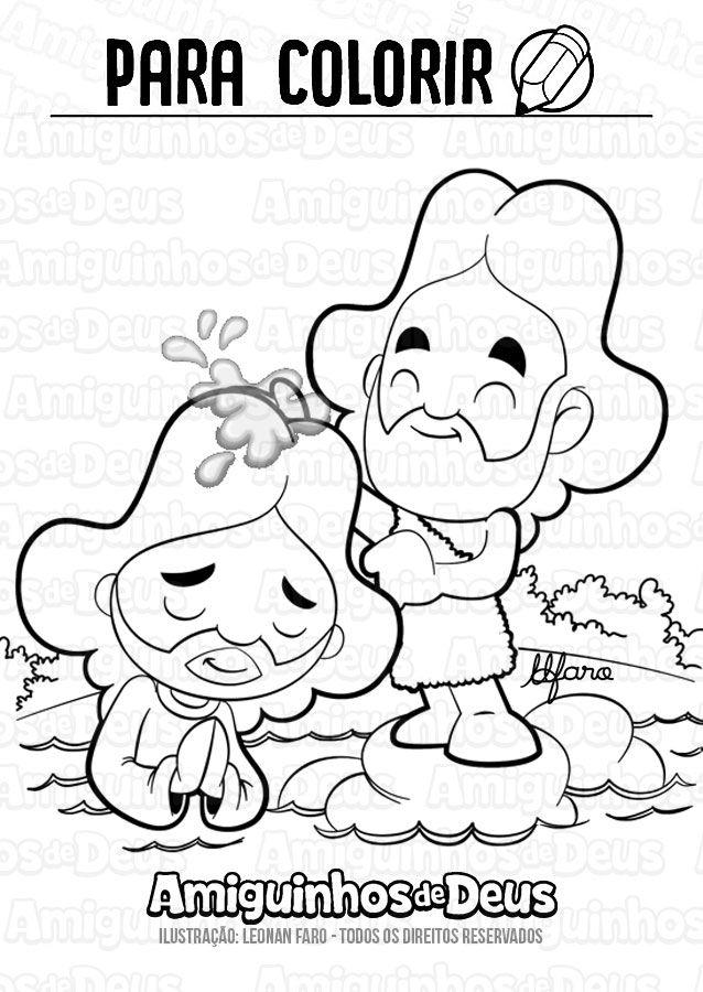 batismo do senhor desenho para colorir amiguinhos de deus para