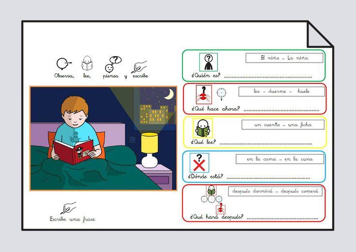 Láminas para estructurar frases con el verbo LEER, combinando láminas de #Soyvisual y pictogramas de #ARASAAC