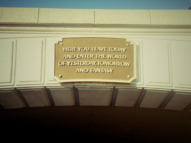A sign on the front gate of Disneyland, Los Angeles