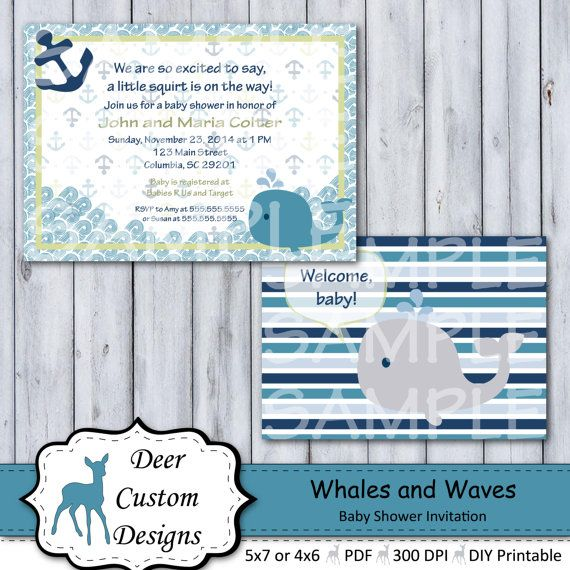Custom Whales and Waves Baby Shower par DeerCustomDesigns sur Etsy