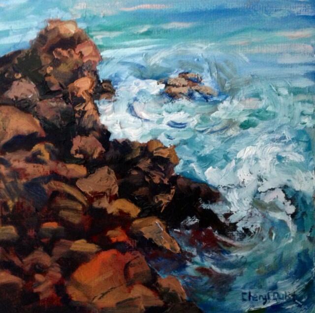 Visual Reflections by Cheryl Quist: Rocky Tak Coast (oil, 8'x8')