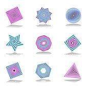 Conjunto de elementos de diseño. iconos de colores abstractos — Archivo Imágenes Vectoriales