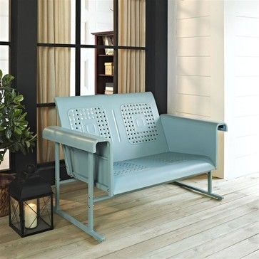 Veranda Loveseat Glider in Caribbean Blue contemporary-outdoor-stools-and-benches