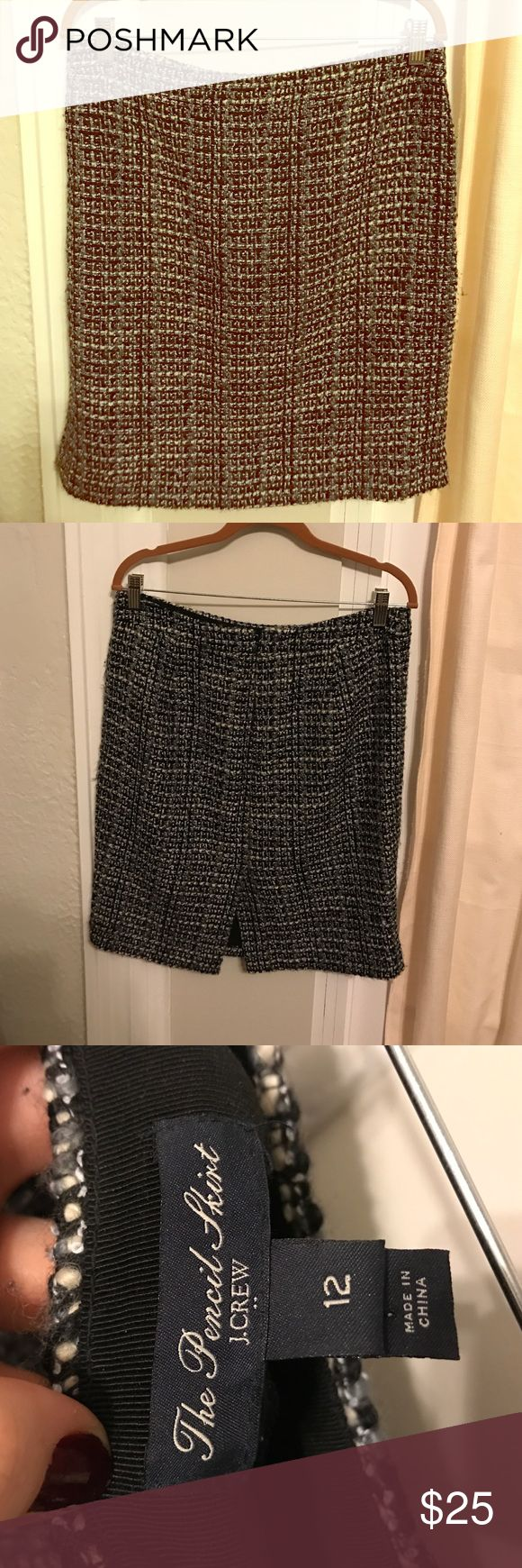 J. Crew Factory Tweed Pencil Skirt Black white gray Pencil Skirt. Fabulous and flattering. I have a new job with a business professional dress code, so my business professional clothes need a new home J. Crew Factory Skirts Pencil