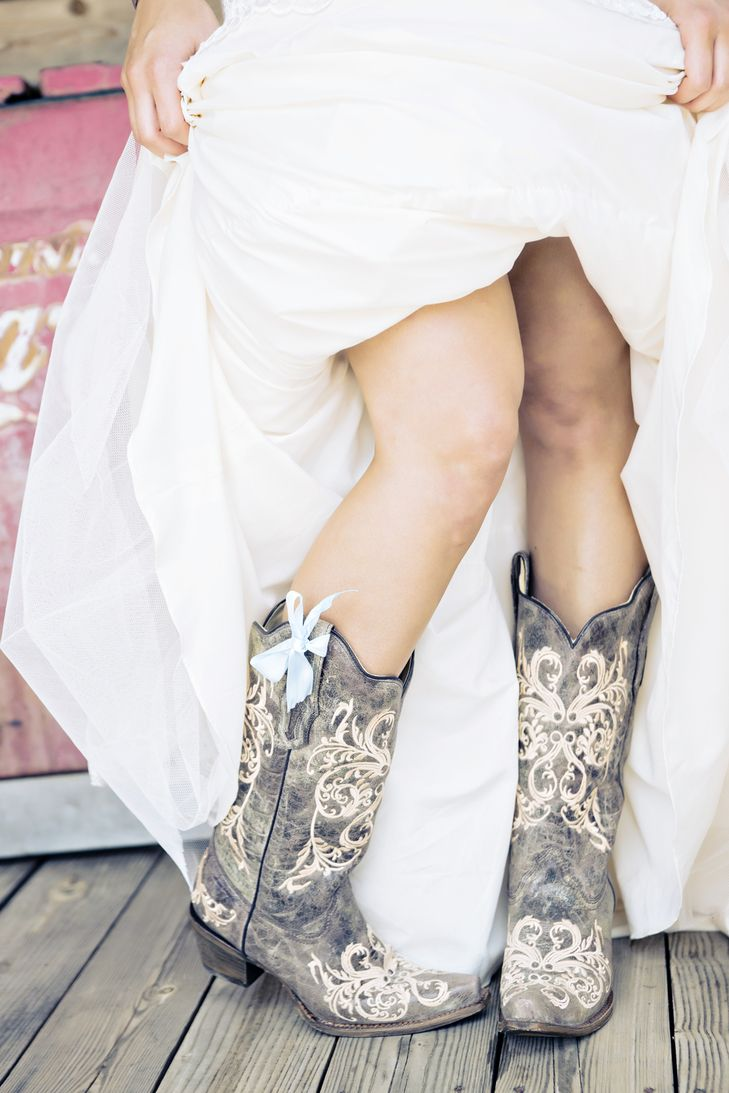 Bridal Cowboy Boots With Blue Bow