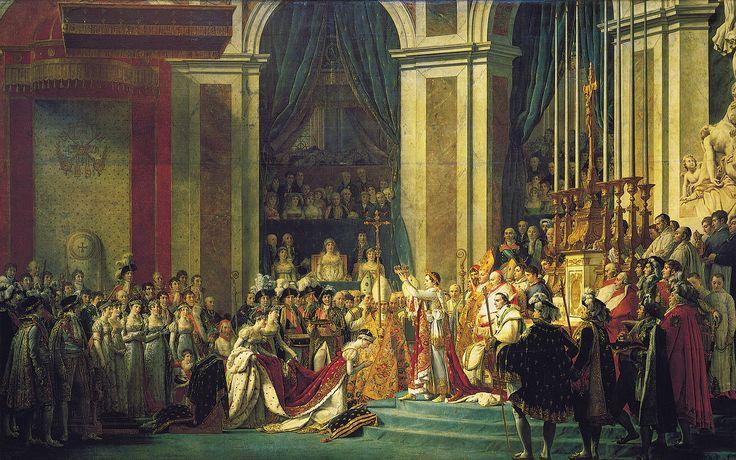 Jacques-Louis David, La consacrazione a imperatore di Napoleone, 1805-1807, olio su tela, Musée du Louvre, Parigi. La tela rimase di proprietà di David fino al 1819, quindi fu portata nei magazzini del Louvre, dove restò fino al 1837. Dopo alcuni anni a Versailles, fu riportata al Louvre nel 1889.