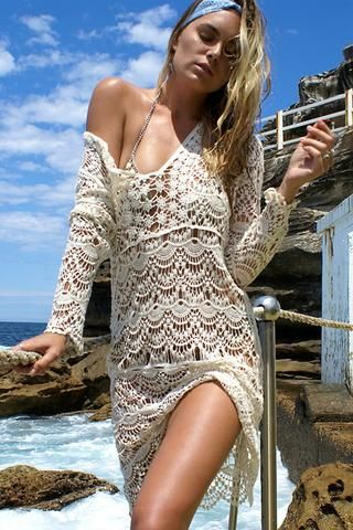 robe de plage longue crochet fleuri blanche boho woman and fashion. Black Bedroom Furniture Sets. Home Design Ideas