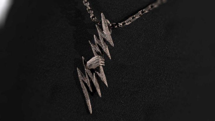 Zeus Thunder Bolt Stainless Steel Pendant #shapeways by Mythos Jewelry #GreekMythology