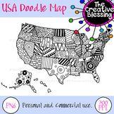 USA Doodle Map AMERICA Printable Handout