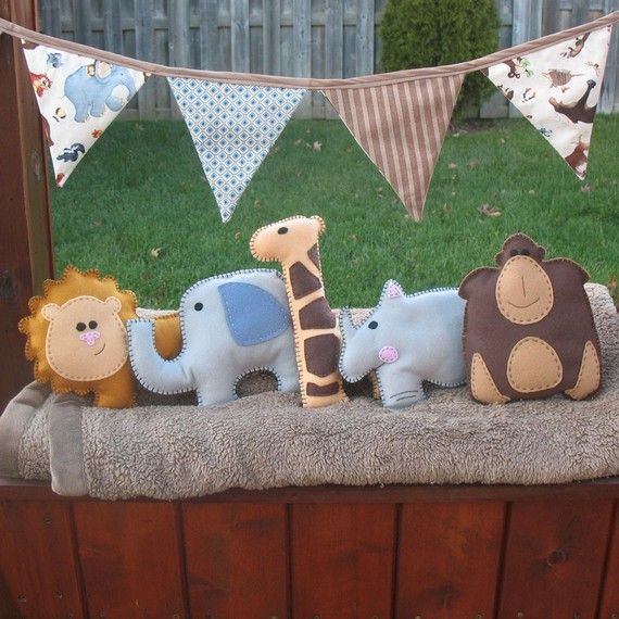 Safari Stuffed Animal Hand Sewing (DIY animals for the mobile?) only in my colors..