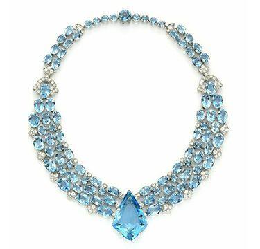 Art Deco aquamarine necklace by Cartier, 1938.