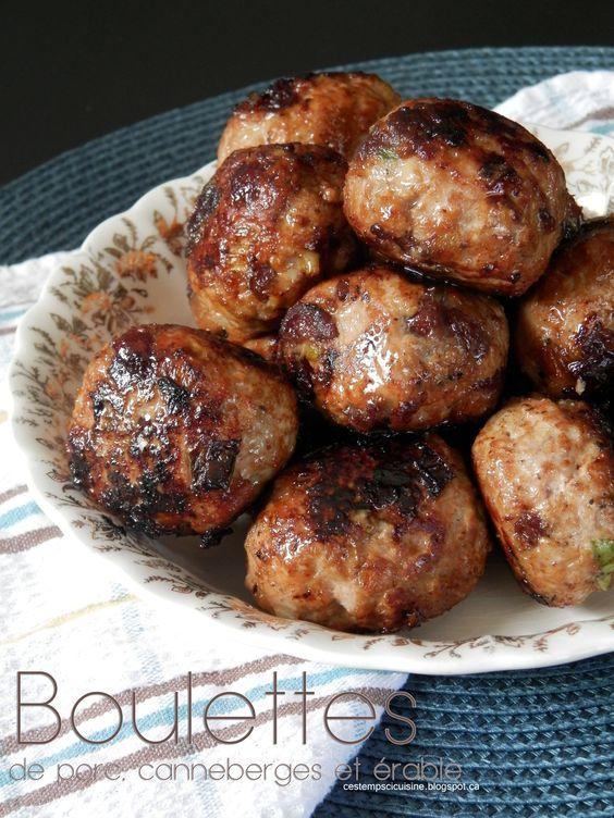 Boulettes de porc au canneberges et érable http://cestempscicuisine.blogspot.ca/2015/04/boulettes-de-porc-hache-aux-canneberge.html