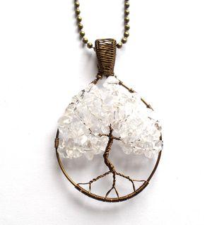 Handmade tree of life pendant with quartz. Livets träd - Halsband med bergkristall