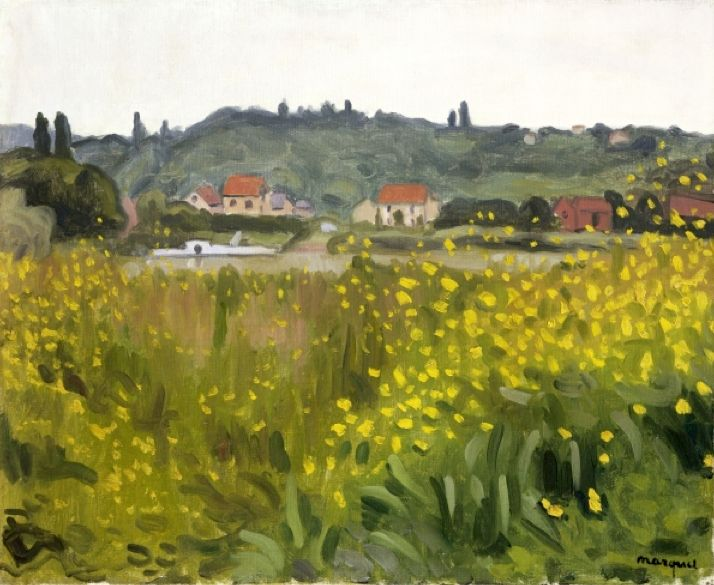 Yellow Flowers at Villenes, 1910 (oil on canvas), Marquet, Albert (1875-1947) / Private Collection