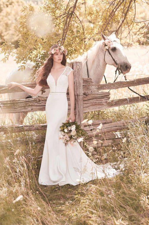 Lace Cap Sleeve Wedding Dress - Style #2057 | Mikaella Bridal