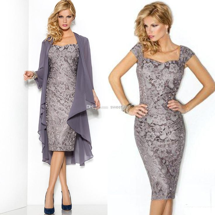 Wholesale Mother Dresses - Buy 2014 New Collection Graceful Mother of the Bride Dresses With Chiffon Jacket Scoop Lace Appliques Ruched Tea-Length Cab11, $173.33 | DHgate