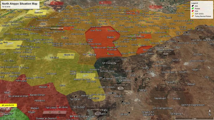 North #Aleppo Situation Map  16-10-2016 #Syria #Rebels & #Turkey vs #ISIS vs #SDF #EuphratesShield