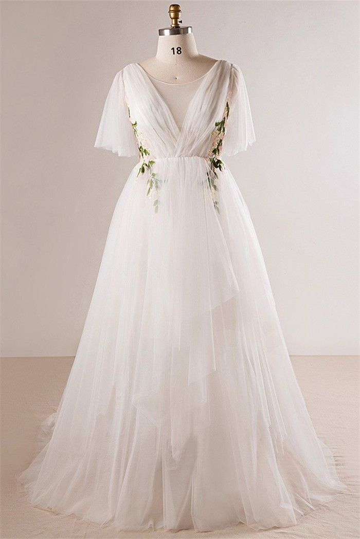 Fairy Scoop Neck Butterfly Sleeve Tulle Applique Bohemian Plus Size Wedding Dress