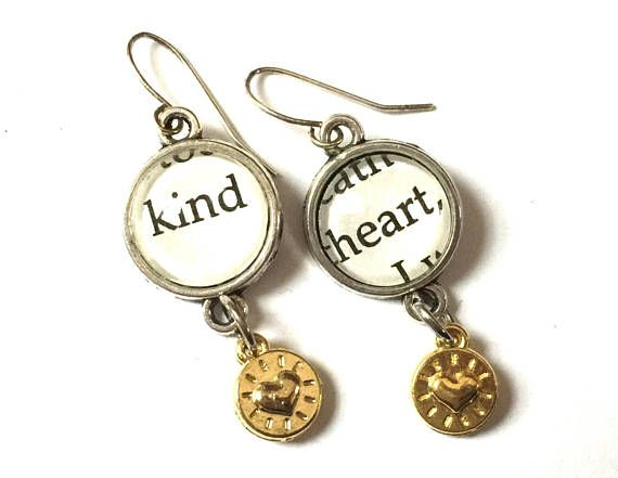 0a3c721d5 Kind Heart Earrings Charm OOAK Inspirational Words Dangle Wizard of Oz  Repurposed Book Recycled Paper Upcycled Materials Silver jewelry | Upcycled  Glass ...