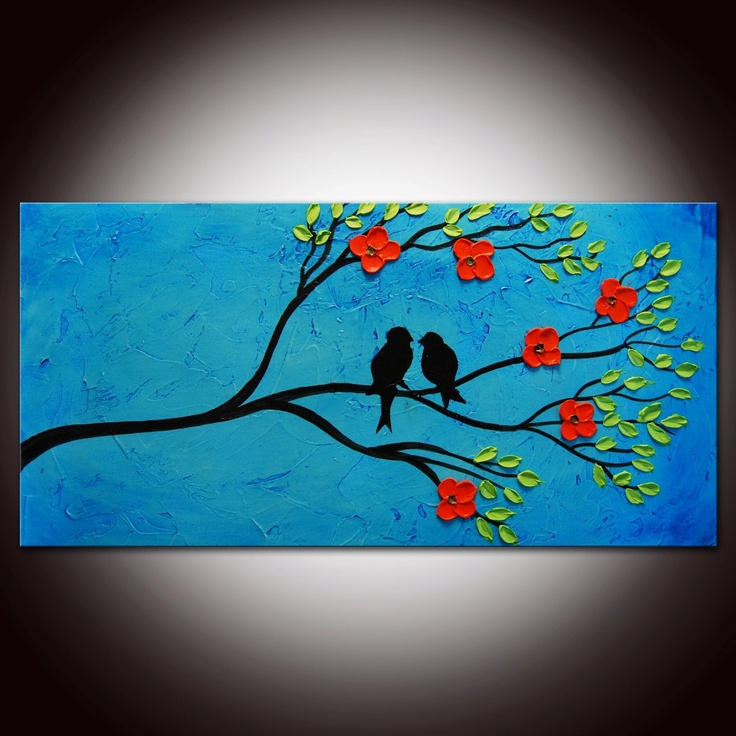 Original Modern Abstract Large Abstract  Painting - Textured Impasto Birds Tree Painting. $99.00, via Etsy.