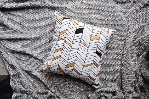 Black White & Metallic Gold Geometric Lines by trimandthread
