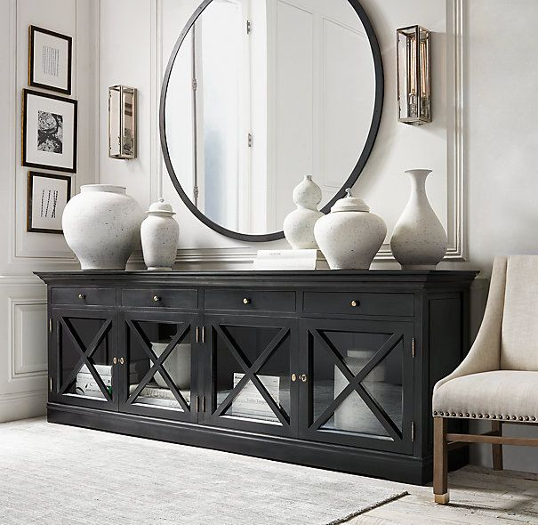"French Neoclassical Glass Sideboard / DIMENSIONS :          54""W x 21½""D x 36""H  //   101¾""W x 21½""D x 36""H"