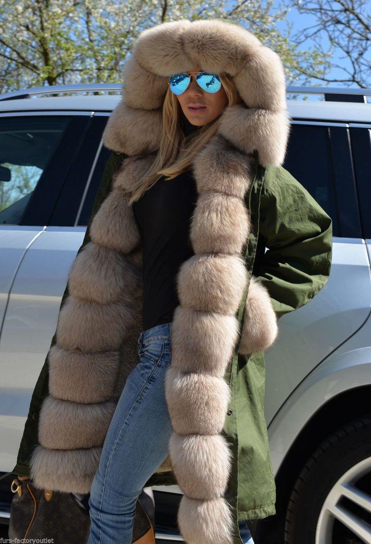 New 2015 Military Parka Fox Fur Coat Class Tortora Sable Chinchilla Mink Jacket | eBay